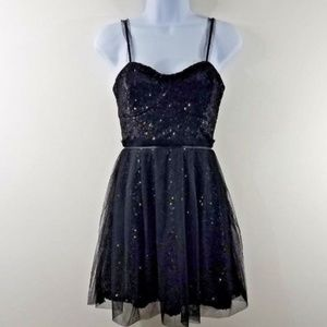 French Connection Dress Size 0 Black Sequins Tulle